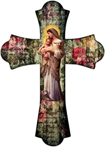 Vintage Style Wooden Catholic Divine Innocence Wood Wall Cross, 10 Inch