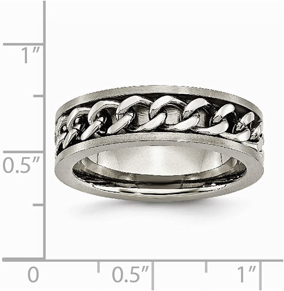 Ring Size Options JewelryWeb Titanium Brushed Engravable 7mm Chain Necklace Inlay Satin Band Ring 10.5 11 11.5 12 12.5 13