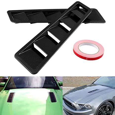 TUINCYN Universal Car Vents Decorative Air Flow Intake Hood Scoops Ventilation Black Cover