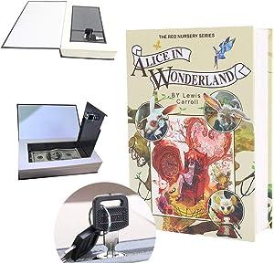 kingsida Real Paper Book Locking Booksafe with Key Lock Dictionary Secret Hidden Safe (Alice in Wonderland)