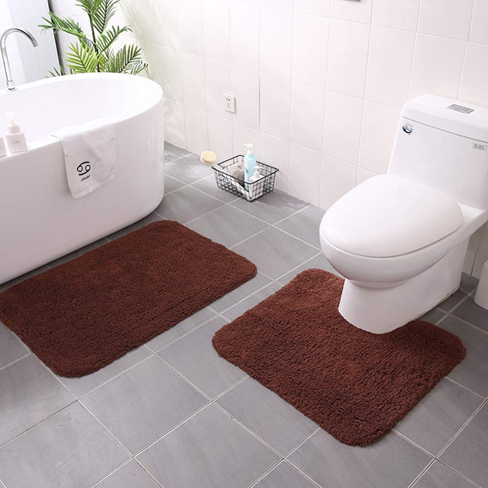 Linbing123 Super Soft Rugs Three Sets of Carpet for Bathroom, Three Sets of Floor Mat Carpet for Bathroom Toilet Cover U-Shaped Rectangular,Darkbrown by Linbing123