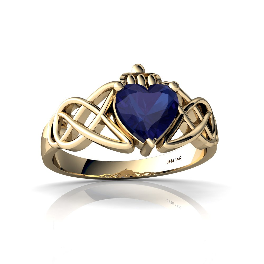 14kt Yellow Gold Lab Sapphire 6mm Heart Claddagh Celtic Knot Ring - Size 9