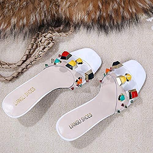 Stiletto Sandals Rivets Women's Open Color White Dress Heels JULY Pumps T Slip Kitten Toe Backless Slides on Shoes p0wFvnq