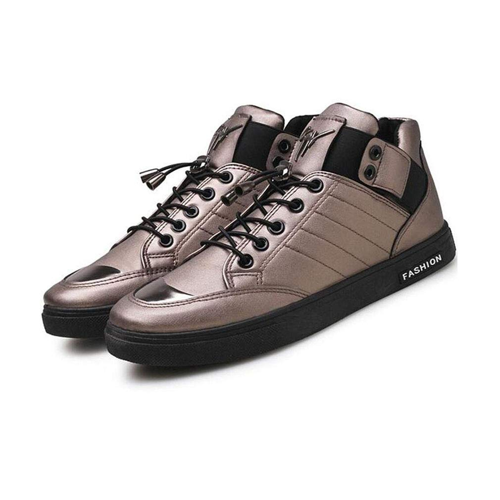 YCSD Mens Board Schuhe Mode Lässig Niedrige Spitzenturnschuhe Männliche Pu Leder Outdoor Trainer (Farbe   Gun Farbe, größe   EU42 UK8.5 CN43)