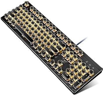 Guanwen Teclado mecánico Real, Interruptor Azul Retroiluminación Amarilla Revestimiento Retro Punk Teclados Multimedia USB con conexión de Cable Teclado ...