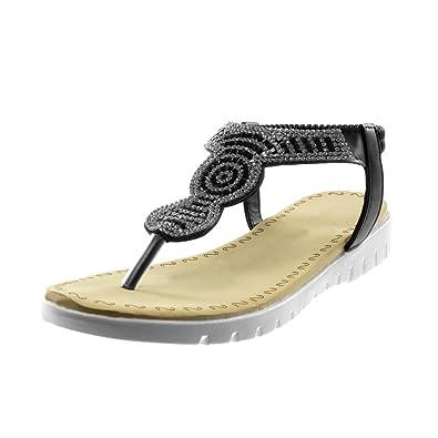 Angkorly Damen Schuhe Sandalen Flip-Flops - Slip-On - T-Spange - Strass Keilabsatz 2.5 cm - Silber S11 T 40 VkRZGkQHyo