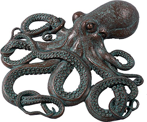 Nautical Tropical Imports Awesome Octopus Large Wall Art Sculpture Figure Verde Bronze Finish 32 - Verde Bronze Finish