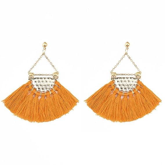 Pendientes Flecos de Borla, Holacha 6cm Pendientes Boho Moda Elegante Regalo Joyería Regalo para las mujeres (naranja): Amazon.es: Ropa y accesorios