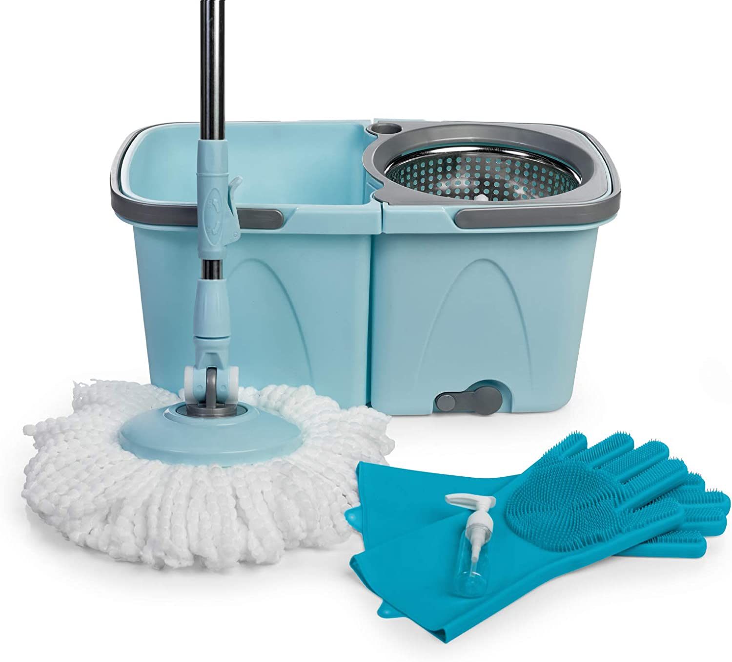 SoftSpin Spin Mop and Bucket – 2 Stage Floor Mop System with Built-in Detergent Dispenser Separates Clean and Dirty Water to Get Floors Cleaner - Silicone Scrub Gloves Included (Blue)