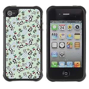 Suave TPU Caso Carcasa de Caucho Funda para Apple Iphone 4 / 4S / Funny Cute Cow Cherries Pattern / STRONG