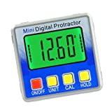 KKmoon Mini Dual Axis Digital Angle Protractor Zinc Alloy Shell 360/° Measuring Range LCD Display Backlight Digital Inclinometer with Magnet
