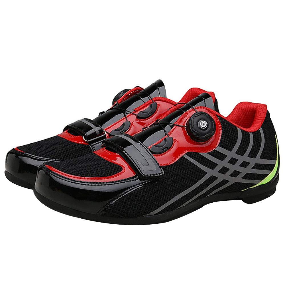 サイクリングシューズ、 マウンテンロードバイク用シューズ 超軽量 春と夏の通気性メッシュ 自転車のスポーツの靴、 メンズ&レディースカジュアルシューズ 39 black red B07RM7SHX8