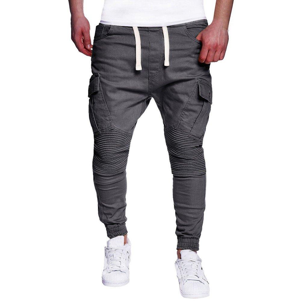Farjing Men's Sweatpants Clearance,Fashion Men's Sport Camouflage Drawstring Pant Casual Loose Lashing Belts Sweatpants (L,Gray)