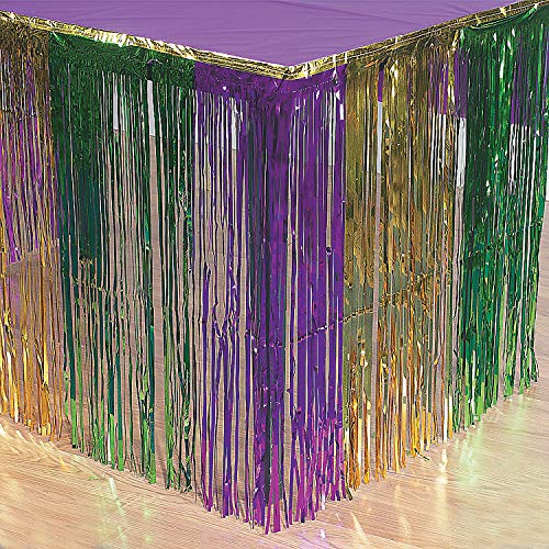 Fun Express Mardi Gras Metallic Fringe Table Skirt]()
