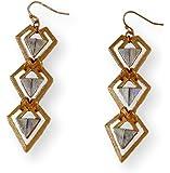 Fashion Earrings Dangle Diamond Shape Links Two-tone Metal
