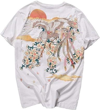 BaronHong Camiseta con Bordado de algodón de los Hombres ...