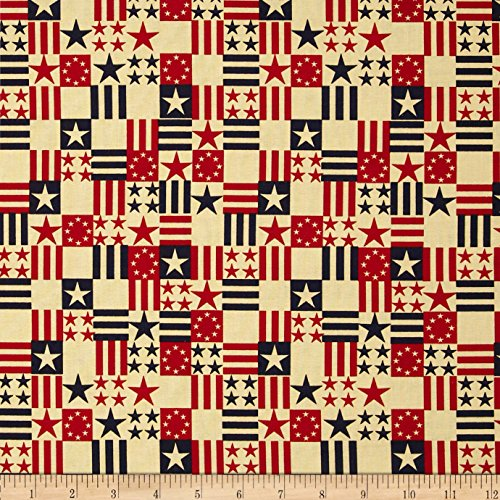 Santee Print Works Made in the USA Antique Flags Red Blue An