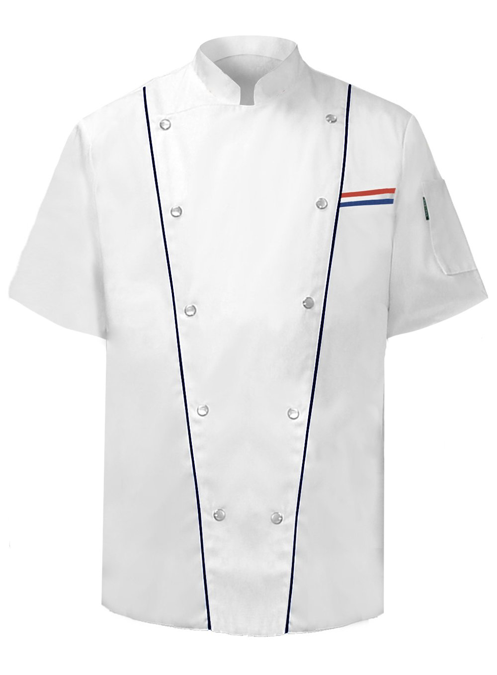 Newchef Fashion Executive Chef Jacket Male Short Sleeves L White