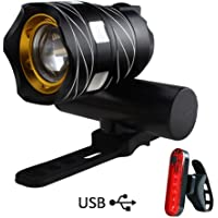 Yungo Luz de Bicicleta Delantera USB Recargable Impermeable con Zoom Beam Focusing, Mini Led Linterna Super Brillante con Batería de Litio Incorporada para el Ciclismo de Montaña, Camping, Acampada