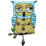 Enesco P1062 Wall Clock Owl Resin 30.5 cm Blue
