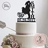 Bride & Groom Kissing Personalized Wedding Cake Topper Mr Mrs Heart Customized Wedding Date & Last Name To Be   Solid Color Cake Toppers