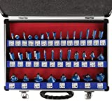 "Router Bit Set- 35 Piece Kit with ¼"" Shank and"