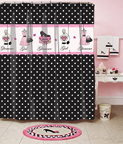 Homewear Glamour Girl Polka Dot Printed Shower Curtain, 70