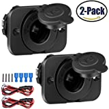 2Pack Cigarette Lighter Socket Car Marine Motorcycle ATV RV Lighter Socket Power Outlet Socket Receptacle 12V Waterproof Plug by ZHSMS