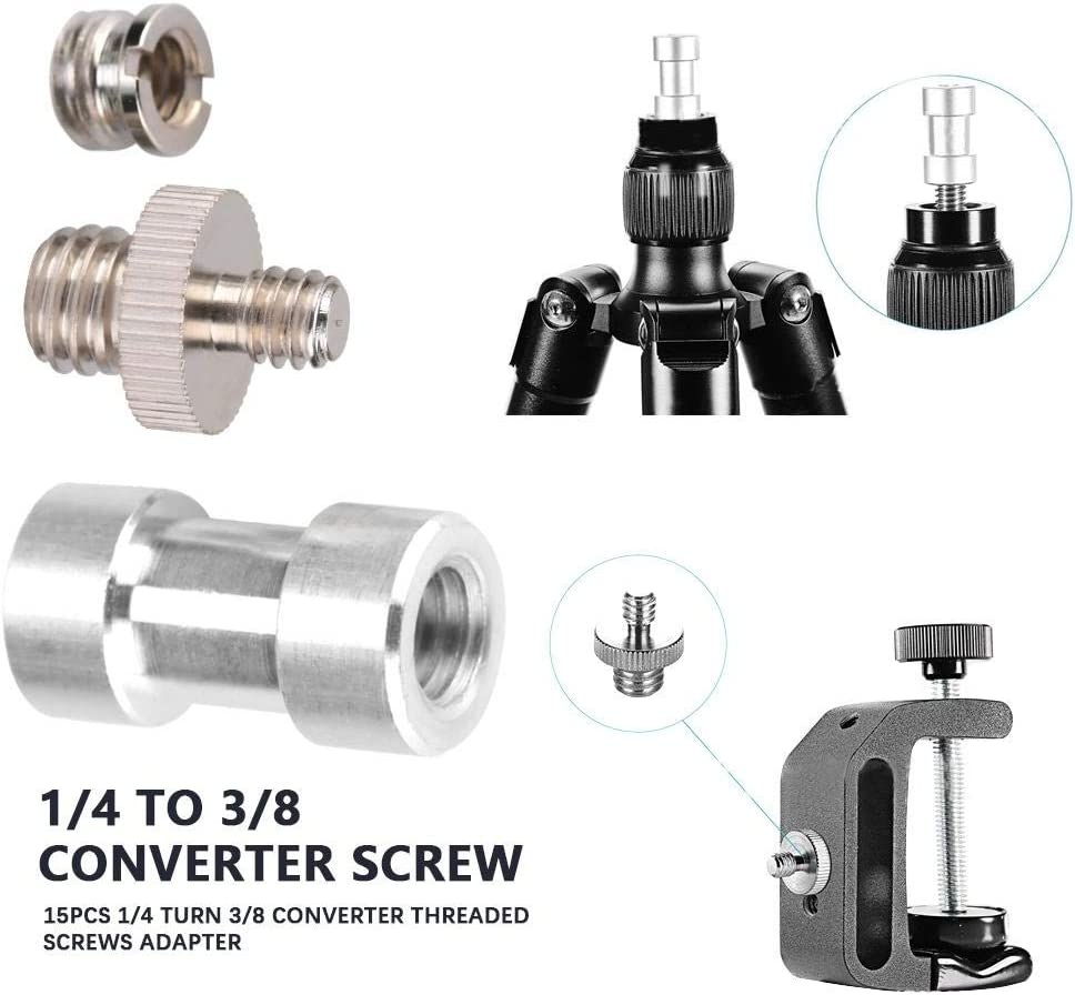 Neufday Camera Screw 15 Pcs Tripod Screw Adapter Converter Ring Screw Pack