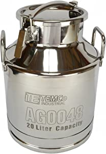 TEMCo 20 Liter 5.25 Gallon Stainless Steel Milk Can Wine Pail Bucket Tote Jug - AG0048