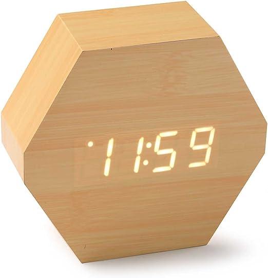 Versa 19650140 Reloj de mesa Digital de Bambú, 10,5x4,6x9,6cm ...