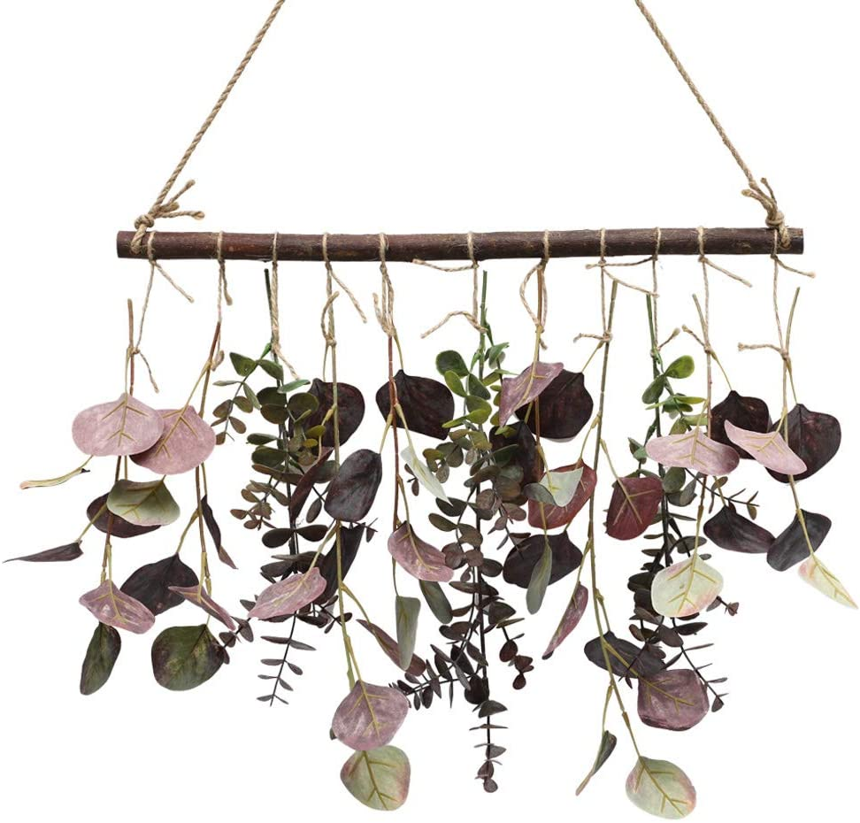 Artificial Eucalyptus Greenery Hanging Wall Decor Artificial Eucalyptus Vines Wall Hanging Plants with Wooden Stick Farmhouse Rustic Boho Wall Decor for Bedroom, Living Room, Entryway and Bathroom