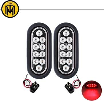 1 LED FLUSH-MOUNT STOP TURN TAIL LIGHT ROUND RED OF TRUCK TRAILER USE CLEAR LENS