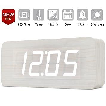 Extra grande Reloj Digital Despertador de Madera con Control de Sonido y LED Brillo de la ...