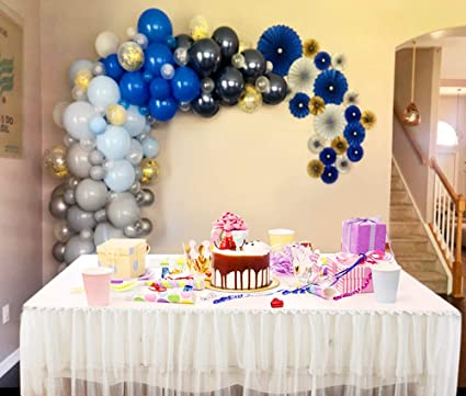 Balloon Arch Garland Kit 100 Gray Balloon Navy Blue Balloons Baby Blue Balloons And Gold Confetti Party Balloons Balloon Decorating Strip Balloon