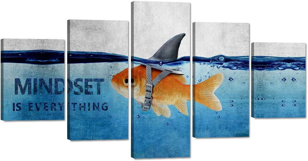 MINDSET IS EVERYTHING Goldfish Canvas Print Wall Art Shark Pictures Animal Poster Painting Modern Inspiring 5 Panel Artwork Wooden Decor for Living Room Office Home Decor Framed (50''W x 24''H)