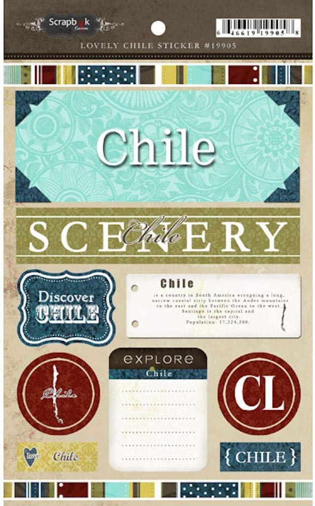 Scrapbook Customs 19905 Exploring Chile Cardstock Stickers