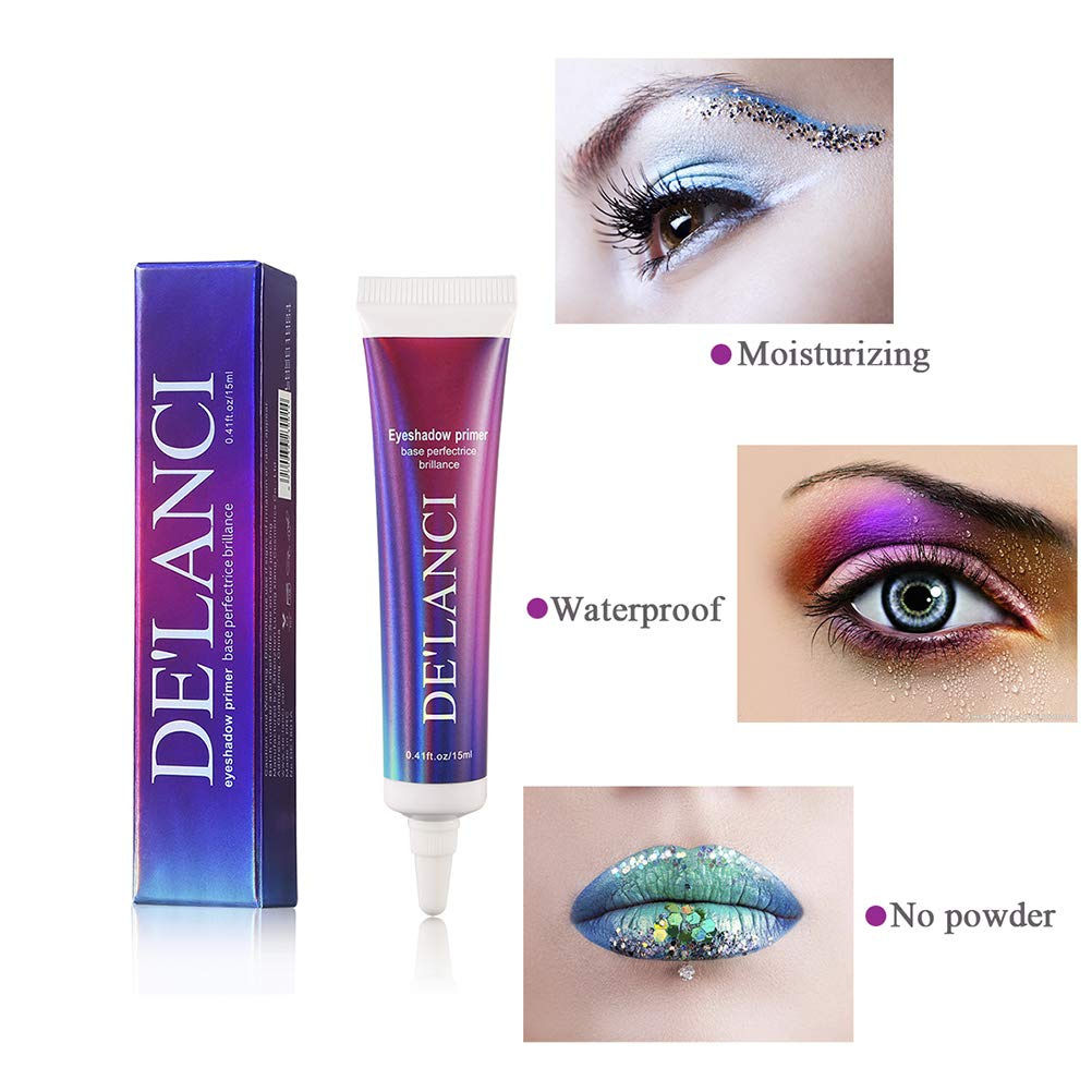 DE\'LANCI Professional Makeup Eye Shadow Glitter Primer. Paraben-free and Cruelty Free, 0.41 oz.(15ml)