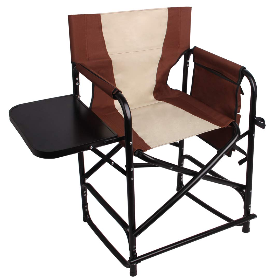 Tall Directors Chair Folding Camping Chairs- 24'' Seat Height Supports 300LBS Lightweight Portable Rocking Camping Chair with Side Table and Storage Bag Makeup Artist Collapsible Chair Director Chair by SILANON