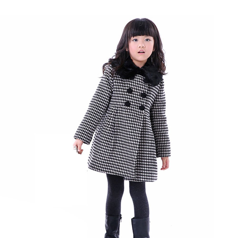 Girls Kids Toddlers Thick Wool Classic Plaid Dress Coat Jacket Windbreaker(Black,10/12) by Ancia