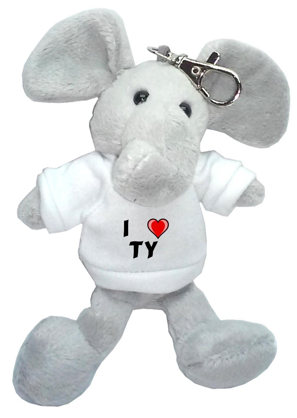 Elefante de peluche (llavero) con Amo Ty en la camiseta ...
