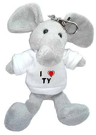 Elefante de peluche (llavero) con Amo Ty en la camiseta (nombre de pila