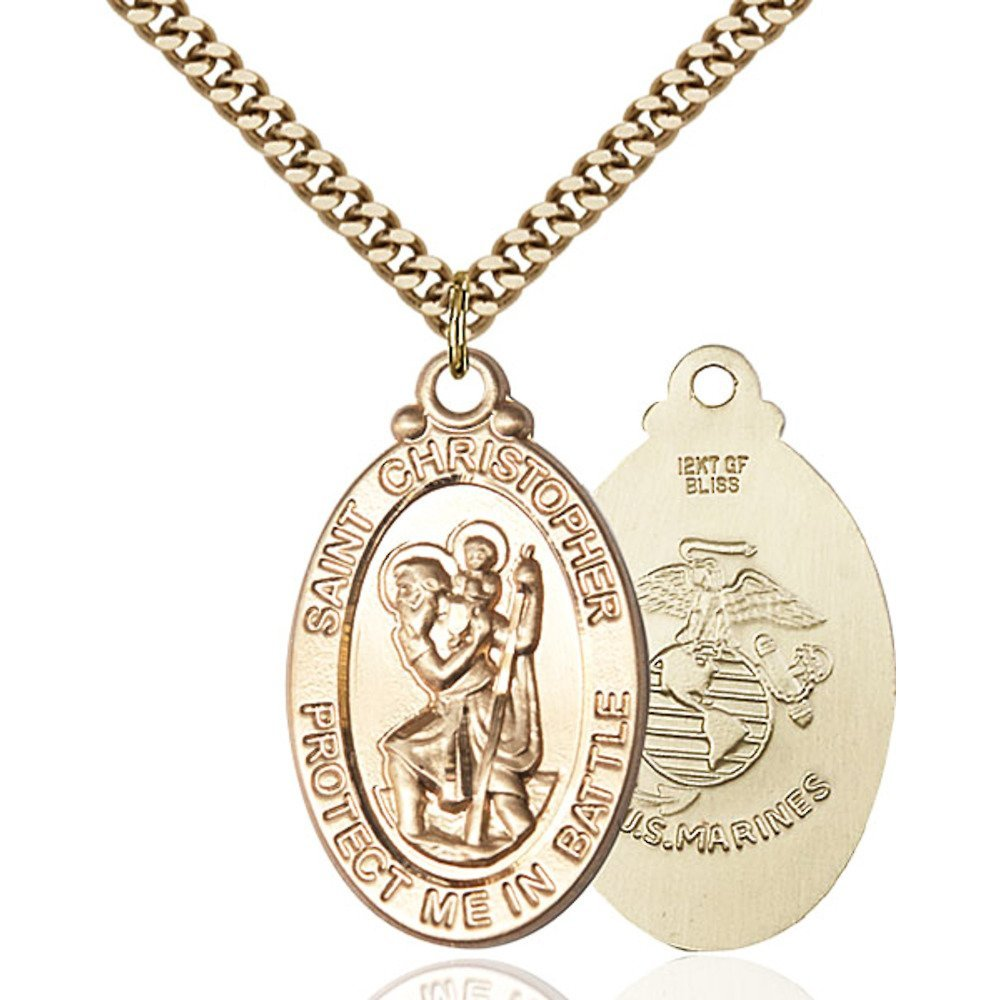 Gold Filled St. Christopher Pendant 1 1/4 X 1 1/4 inches with Heavy Curb Chain by Bonyak Jewelry Saint Medal Collection