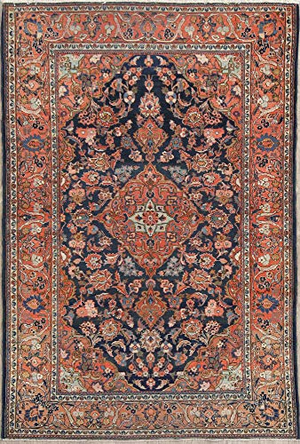 Antique Pre-1900 Hand Knotted Navy Blue Floral Dabir Antique Persian Living Room Rug 4x7