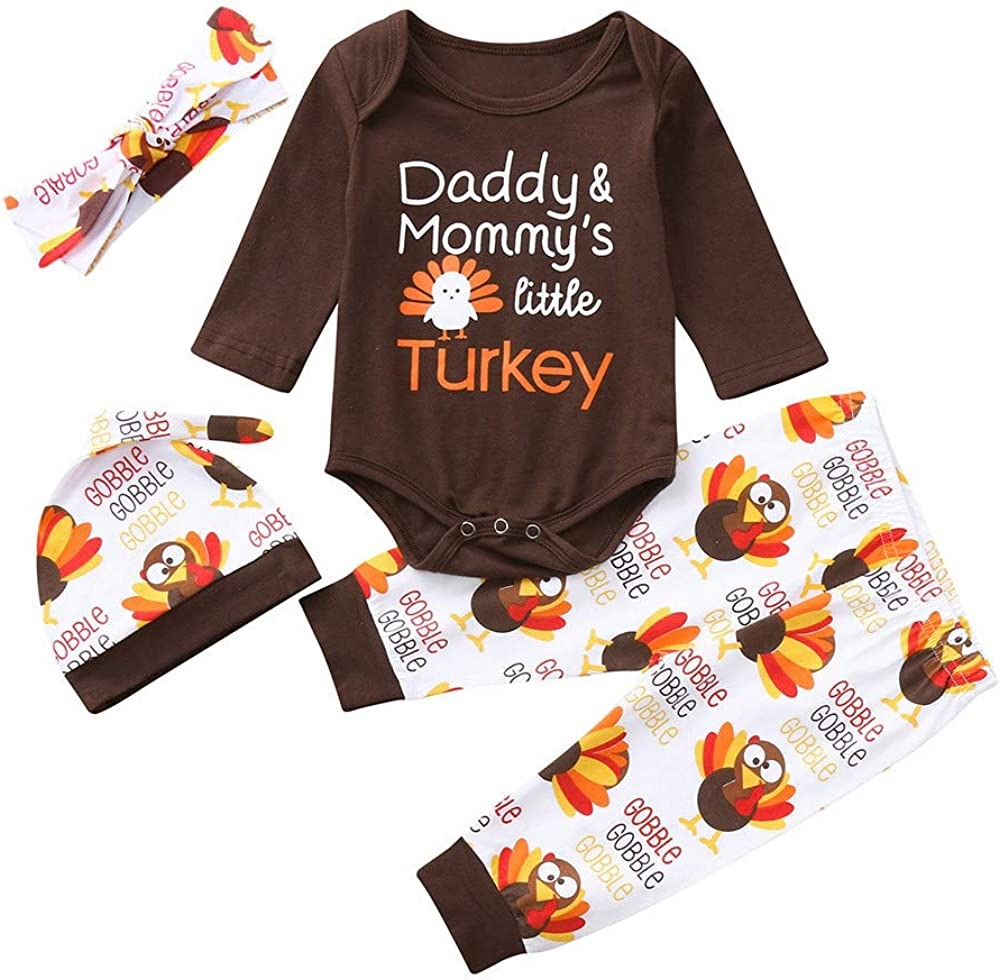 Christmas Kids Outfits,Fineser Infant Baby Boys Girls Letter Turkey Print Romper+Pants+Headbands+Hat Thanksgiving Day 4 Sets