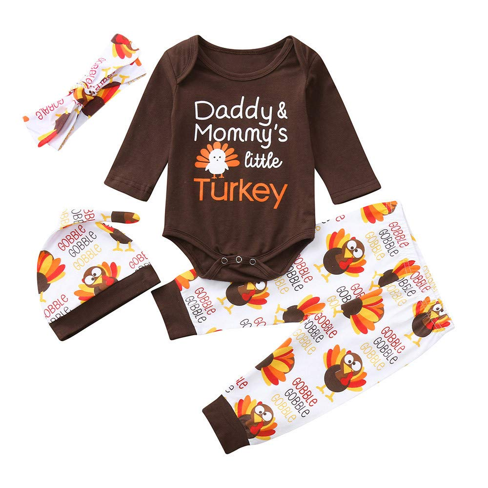 Clearance! Paymenow Infant Baby Boys Girls Cute Turkey Print Romper Tops+Pants +Headbands+Hat Thanksgiving Day Outfits