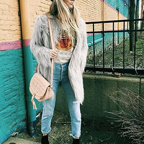 Ladies Female Warm Outwear Faux Winter Long Cardigan Womans Grey Jackets Gray Parka Fur Coats Coat Janly® qw0XfxUv