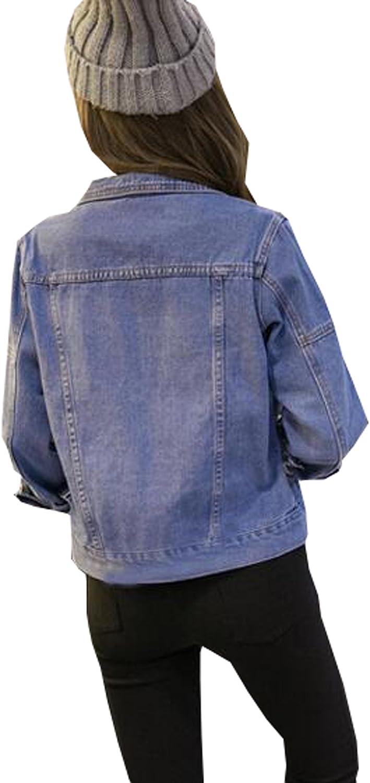 Only Faith Women s Loose Long-Sleeved Lapel Cowboy Denim Jacket