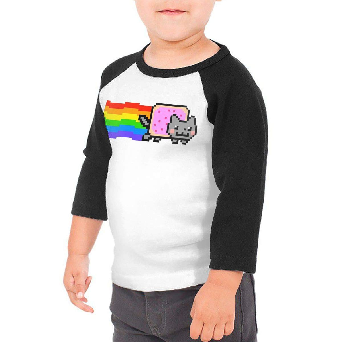 8-bits Pixel Nyan Cat Unisex 100/% Cotton Childrens 3//4 Sleeves T-Shirt Top Tees 2T~5//6T