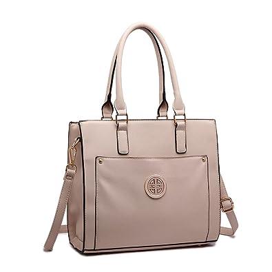 4e45aae55d93 Miss Lulu Women Adjustable Designer Shoulder Handbags Ladies A4 Size Laptop  Large Faux Leather Tote Bags